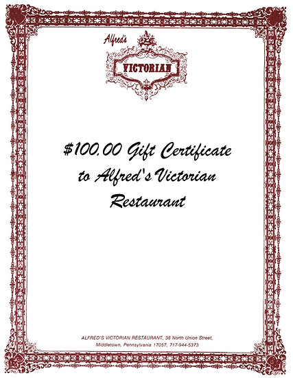$100 Gift Certificate to Alfred's Victorian