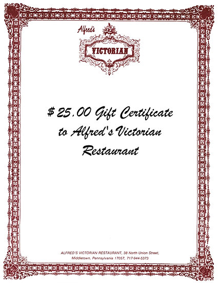 $25 Gift Certificate to Alfred's Victorian