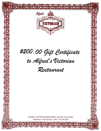 $200 Gift Certificate to Alfred's Victorian