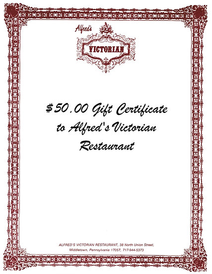 $50 Gift Certificate to Alfred's Victorian