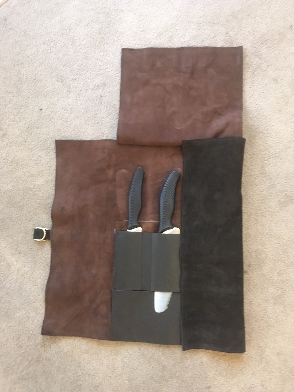 Custom Leather Chefs Knife Roll/Partial Open/The Designers; Leather Clothiers, Inc