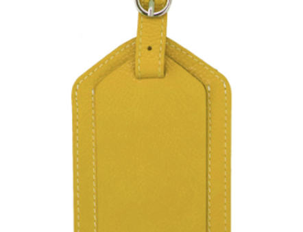 Yellow Leather Luggage Tag/The Designers; Leather Clothiers, Inc/Best of Boston