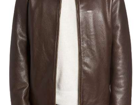 Front View,The Wayland Leather Jacket for Men Handmade by The Designers;Leather Clothiers, Inc/Best of Boston