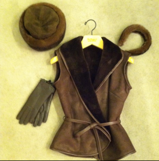 Mink trimmed hat,Mink Headband, Sheepskin/Shearling vest, Leather Gloves