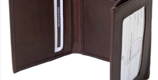 Men's Tri-Fold Brown Leather Wallet/The Designers; Leather Clothiers, Inc/Best of Boston