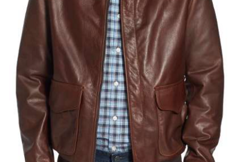 Front View of The Charlestown Brown Leather Men's Jacket by The Designers; Leather Clothiers, Inc/ Best of Boston