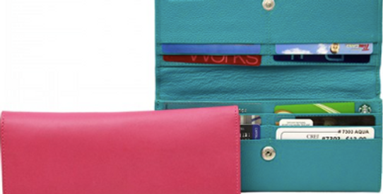 Women's Leather Flap Front Clutch Wallet/The Designers; Leather Clothiers, Inc/Best of Boston