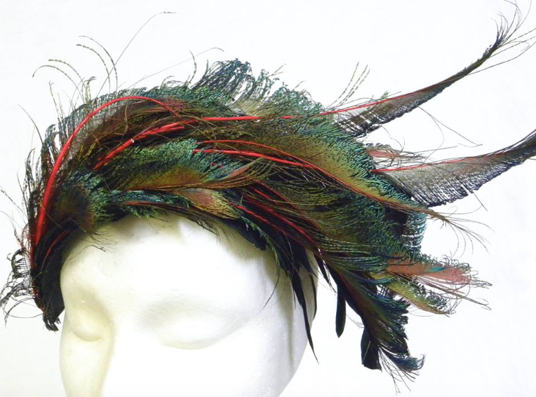 Multi colored feathered fascinator