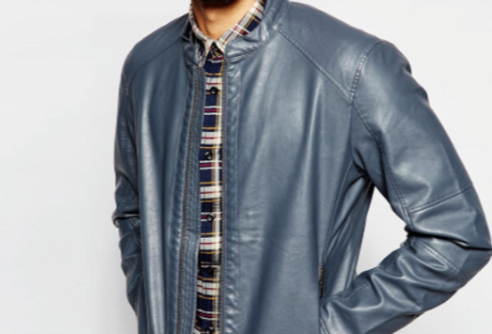 Men's Grey Leather Suffolk Jacket by The Designers; Leather Clothiers/Best of Boston