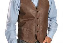 Men's Casual Brown Leather Vest, The Amherst by The Designers; Leather Clothiers, Inc/ Best of Boston