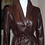 Custom made brown leather women's wrap coat/Best of Boston/The Designers;Leather Clothiers, Inc.