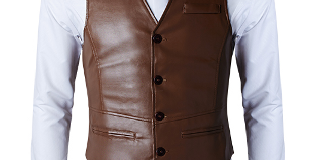 Men's Brown Leather Dress Vest, The Norfolk by The Designers; Leather Clothiers, Inc/ Best of Boston