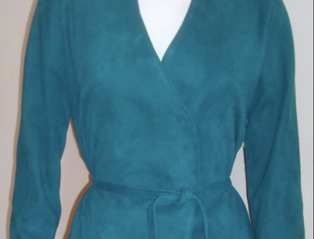 Women's Peacock Blue Suede Wrap Jacket/Best of Boston/ The Designers; Leather Clothiers, Inc.