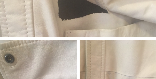 Before and After of tear in White Leather Jacket/ Best of Boston/ The Designers; Leather Clothiers, Inc.