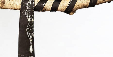 Neomiuri Black and White Silk Necktie by Shoran Ernst/The Designers; Leather Clothiers, Inc/Best of Boston