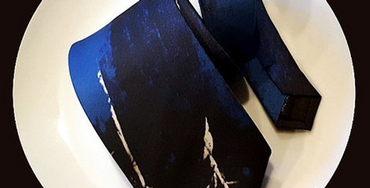 Chaim Blue and Black Silk Neck tie by Shoshana Ernst/The Designers; Leather Clothiers,Inc/Best of Boston