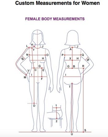 Diagram of measurements for womens custom leather garments