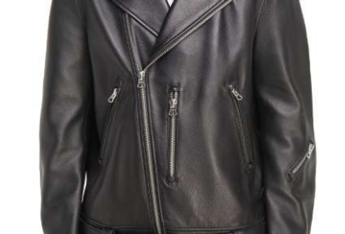 Front view of Men's Black Leather Portland Moto Jacket by The Designers; Leather Clothiers, Inc/ Best of Boston
