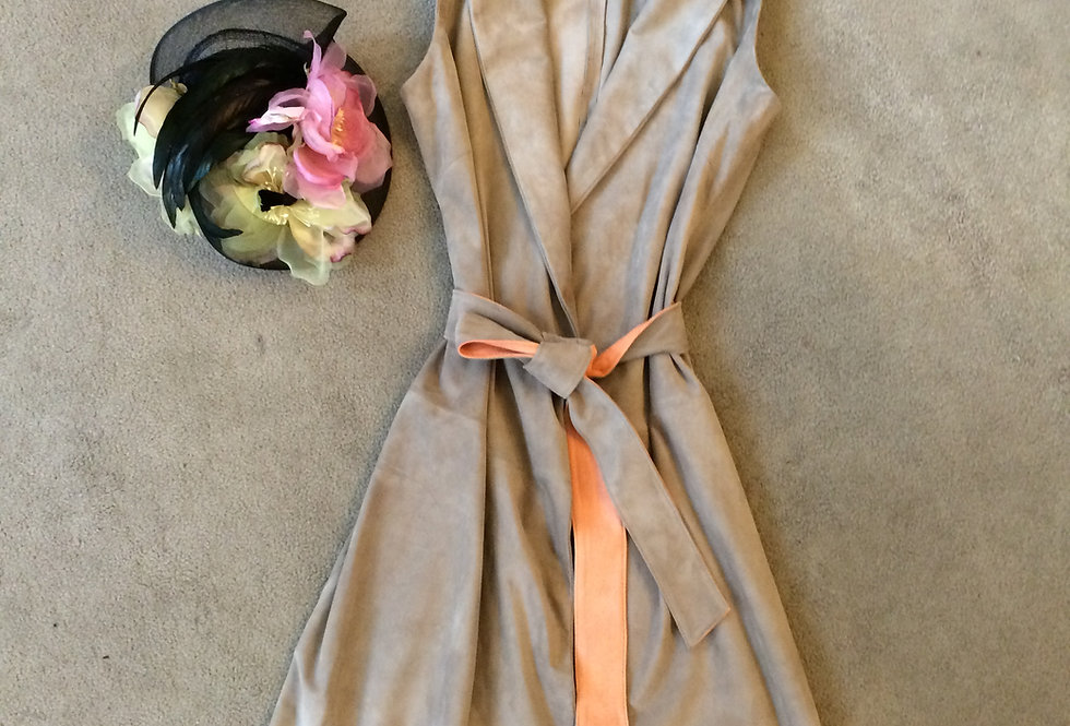Taupe lamb suede wrap dressBest of Boston/ The Designers; Leather Clothiers, Inc