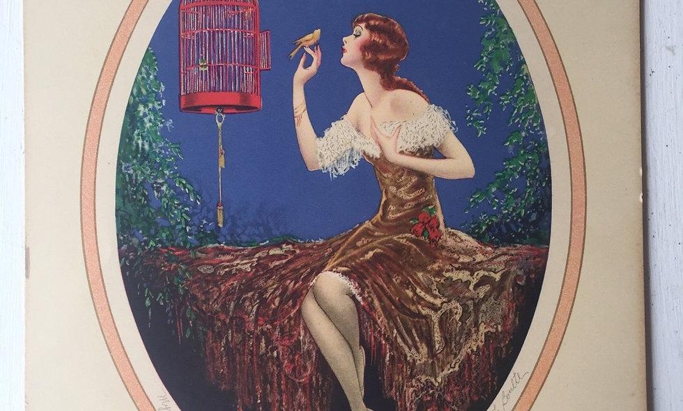 """""""My songbird"""" marcel le boulte  vintage lithograph"""