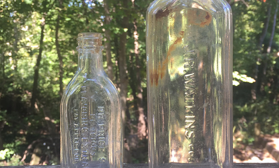 Two antique bottles (J.R.Watkins-DR.prices Delicious flavoring extract)