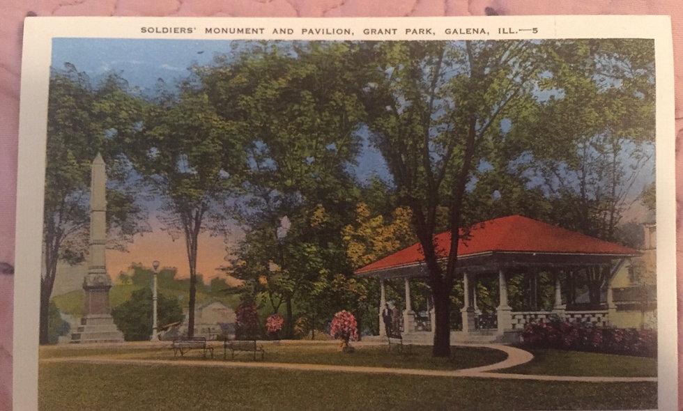 Antique postcard: grant park - galena,Illinois