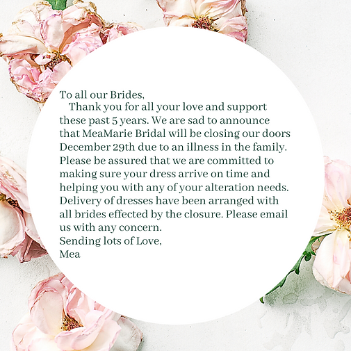 To all our brides, Thank you all for all