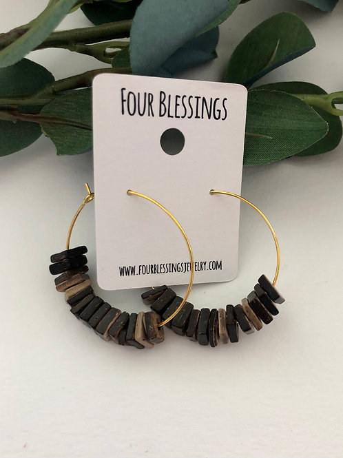 Petite Chunky Brown Square Beaded on Gold Hoops