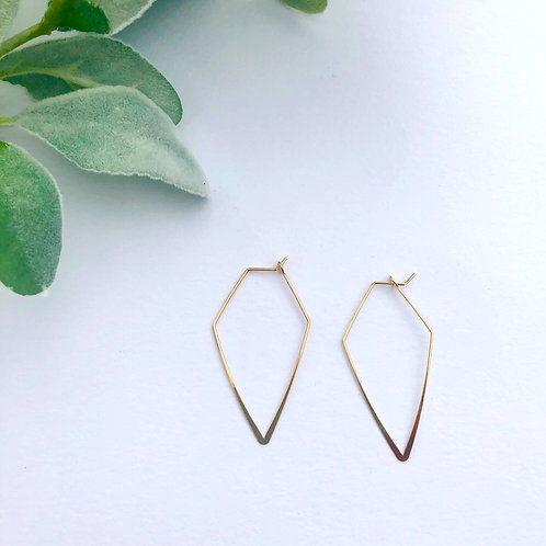 Gold Wire Hexagon Hoops