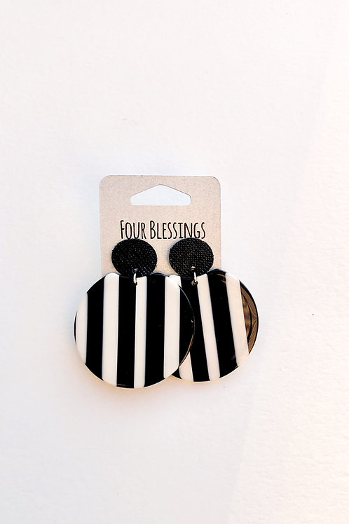 Black and White Striped Circle with Black Saffiano posts
