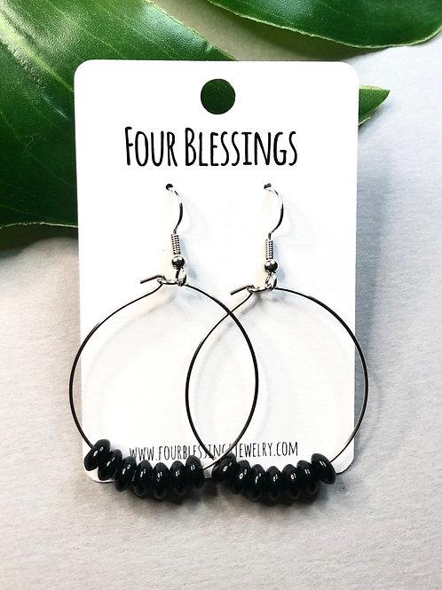Simple Black Bead Silver Hoops