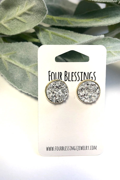 Chunky Silver 12mm Druzys