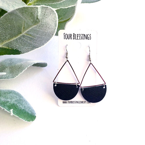 Black Saffiano Half Circle Triangle Dangles