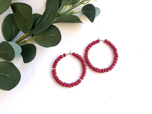 Red Beaded Traditional Hoop