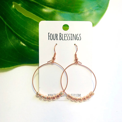 Rose Gold Square Beaded on Rose Gold Hoops