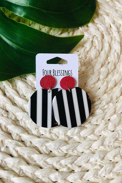 Black/White Striped Acrylic with Red Saffiano Posts