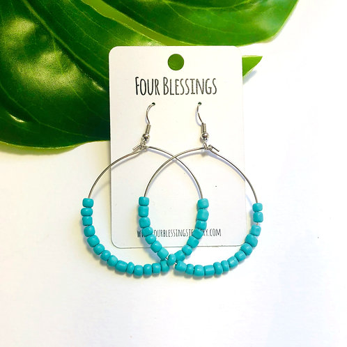 Turquoise Beaded on Silver Hoops