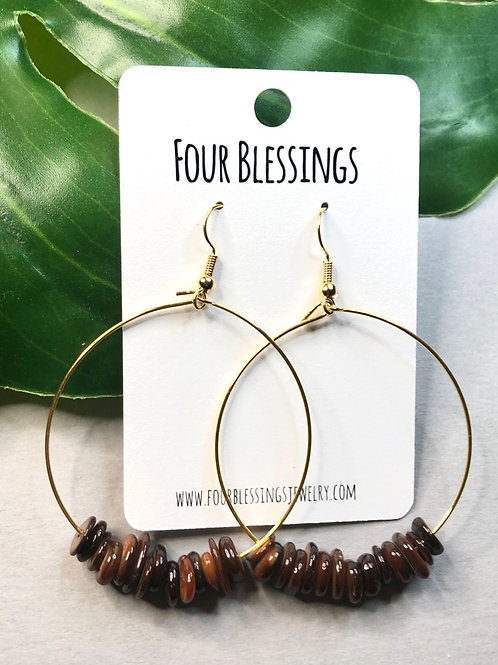 Brown Uneven Bead Gold Hoops