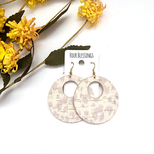 Beige Leopard Cork Open Circle