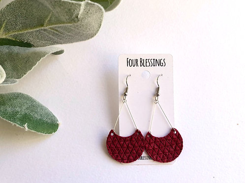 Burgundy Triangle Crescent Moon Dangles