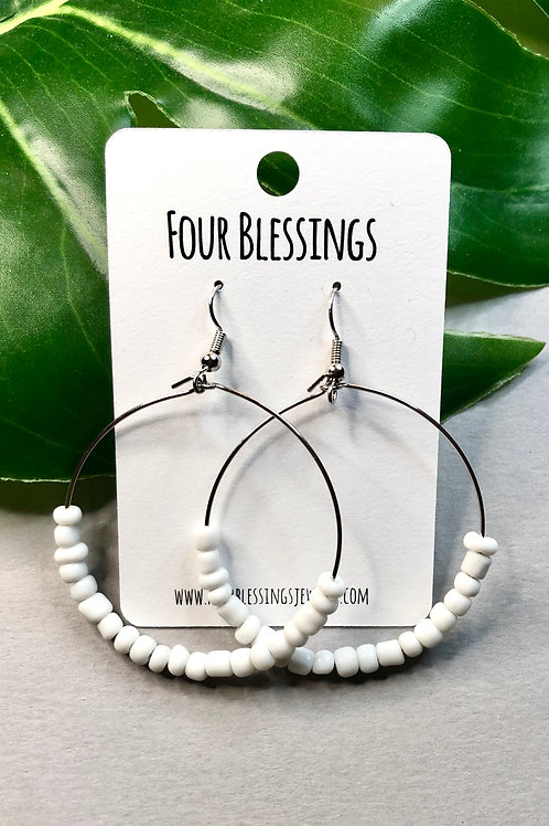 Tiny White Bead Silver Hoops