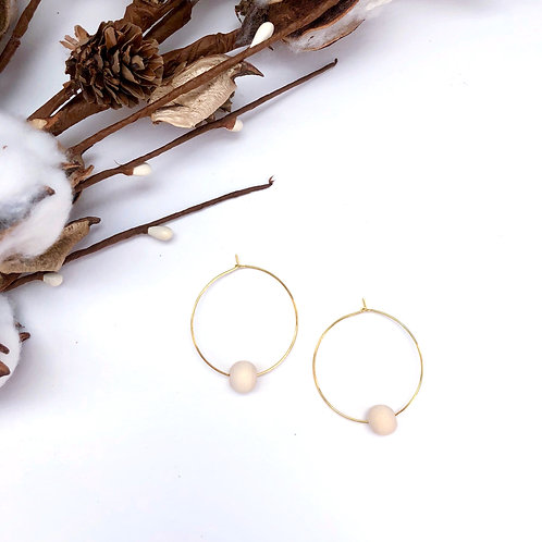 Dainty Gold Hoop with Single Cream Wooden Bead