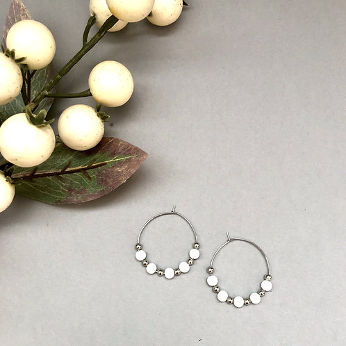 White and Silver Beaded Hoops