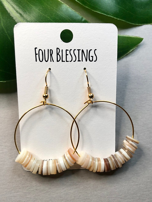 Neutral Pearl Tan Bead Gold Hoop