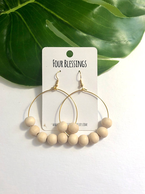 Wood Round Beaded on Gold Hoops