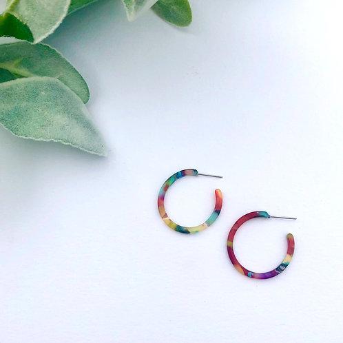 Multicolor Circle Hoops