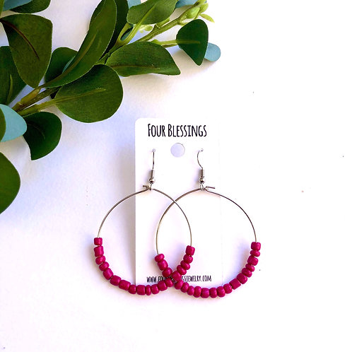 Magenta Beaded on Large Silver Hoops