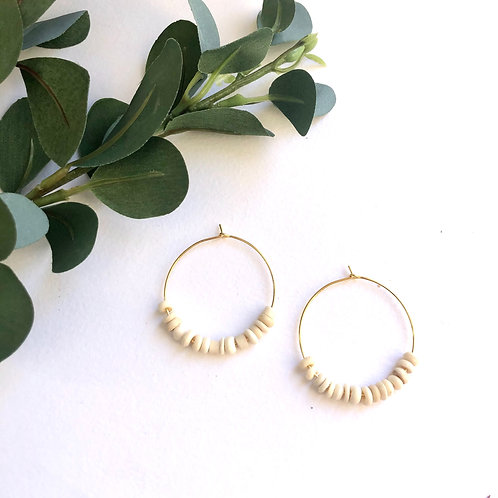 Tiny Cream Beads on Traditional Gold Hoops