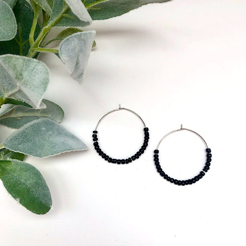 Large Silver Hoops with Petite Black Beads