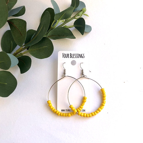 Yellow Beaded on Large Silver Hoops